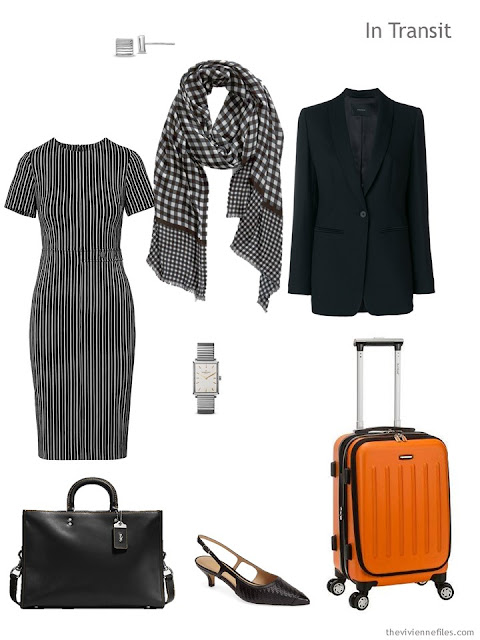 business travel outfit in black and white