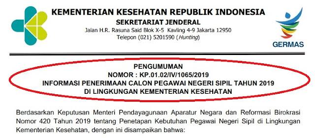 Rincian Formasi Penerimaan CPNS Kementerian Kesehatan  Soal SKB CPNS Pdf :  RINCIAN FORMASI PENERIMAAN CPNS KEMENKES TAHUN 2019