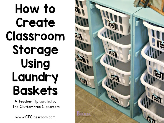 Not all teachers have cubbies for student coats and backpacks. This classroom storage option made with laundry baskets can solve that problem.
