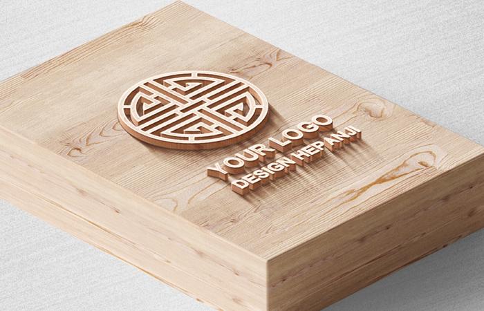 Wood Grain Wooden Box 3D Engraving and Embossing Logo Mockup