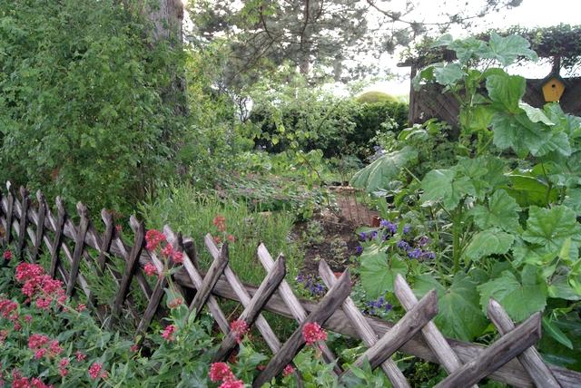 Blick über den Gartenzaun von Filz und Garten