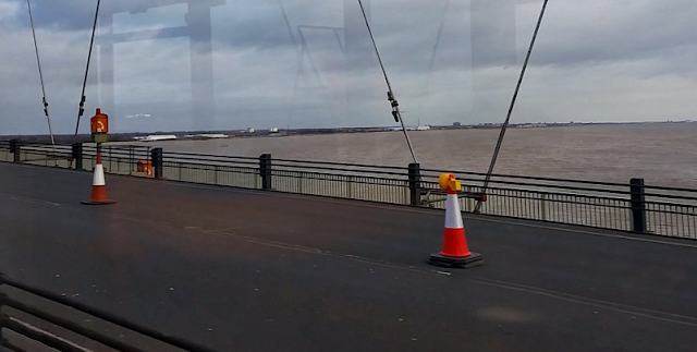 A view over the water from the Humber Bridge