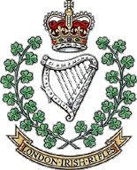 London Irish Rifles cap badge.
