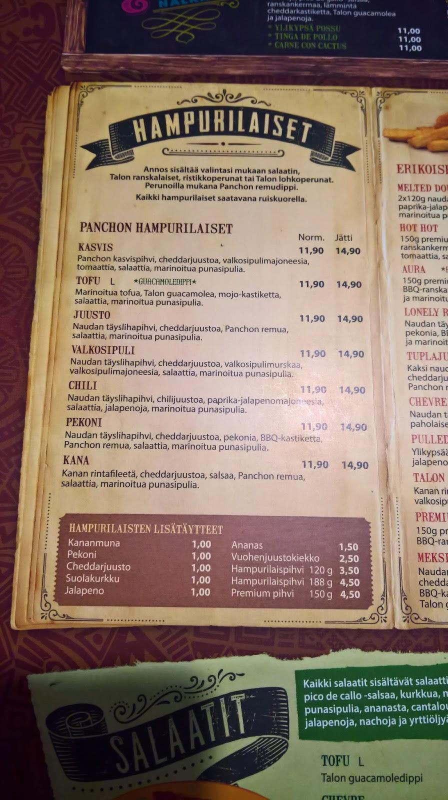 Jyväskylän paras hampurilainen testi Mallaspulla maistelee Pancho Villa menu
