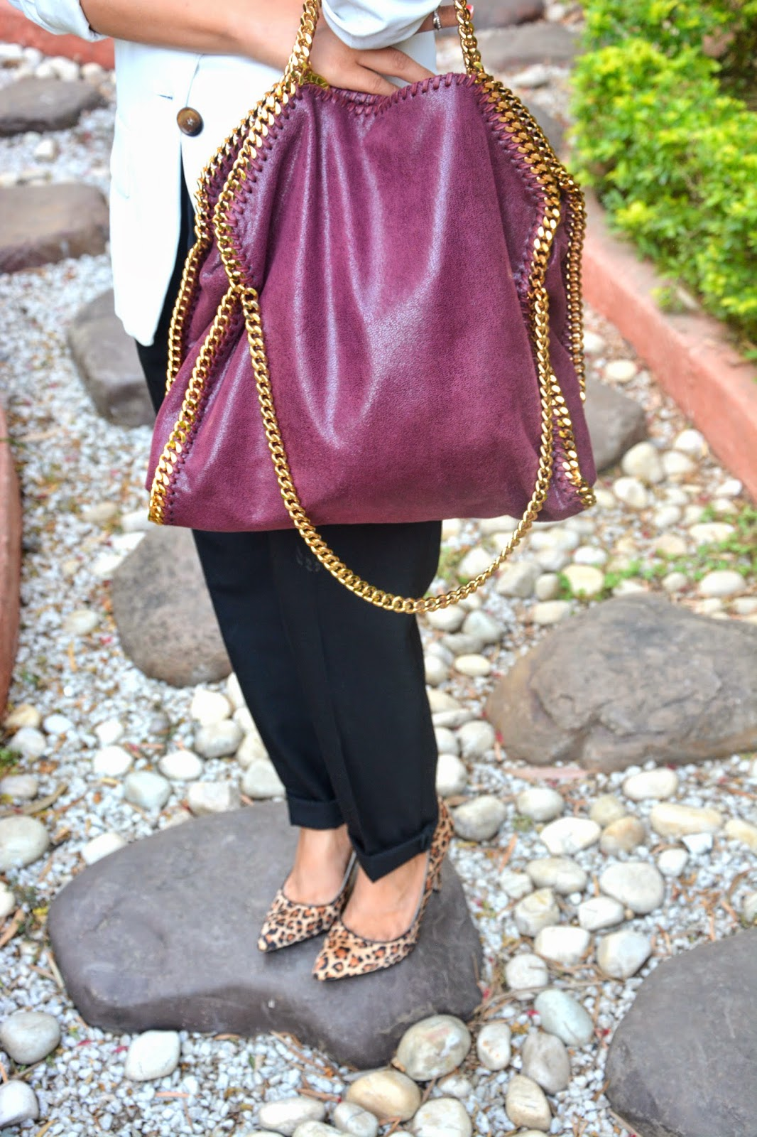 Stella McCartney Plum Falabella Bag and Leopard Heels