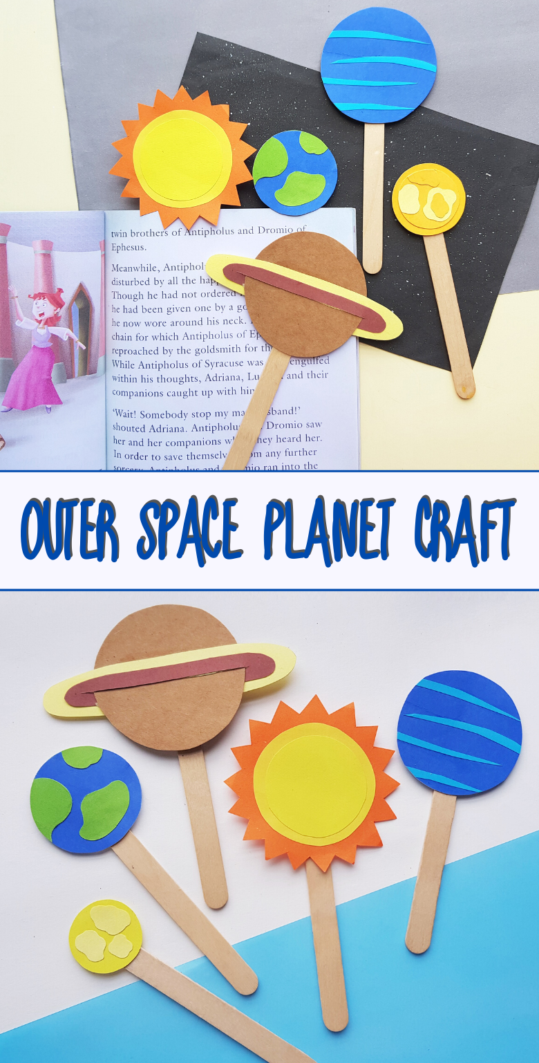 Outer Space Planet Craft for Kids. Bookmark craft or puppet craft.