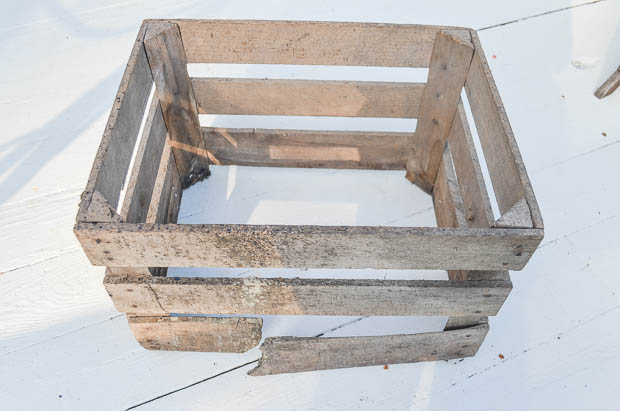 Broken vintage wood crate