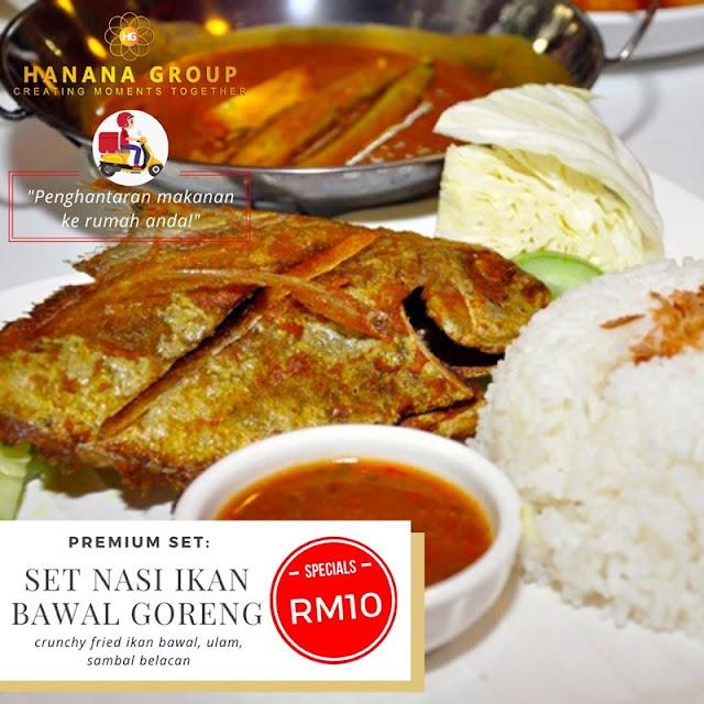 Set Nasi Ikan Bawal Goreng (crunchy fried ikan bawal, ulam, sambal belacan) RM10