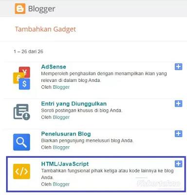 Pilih HTML/Javascript Blogger
