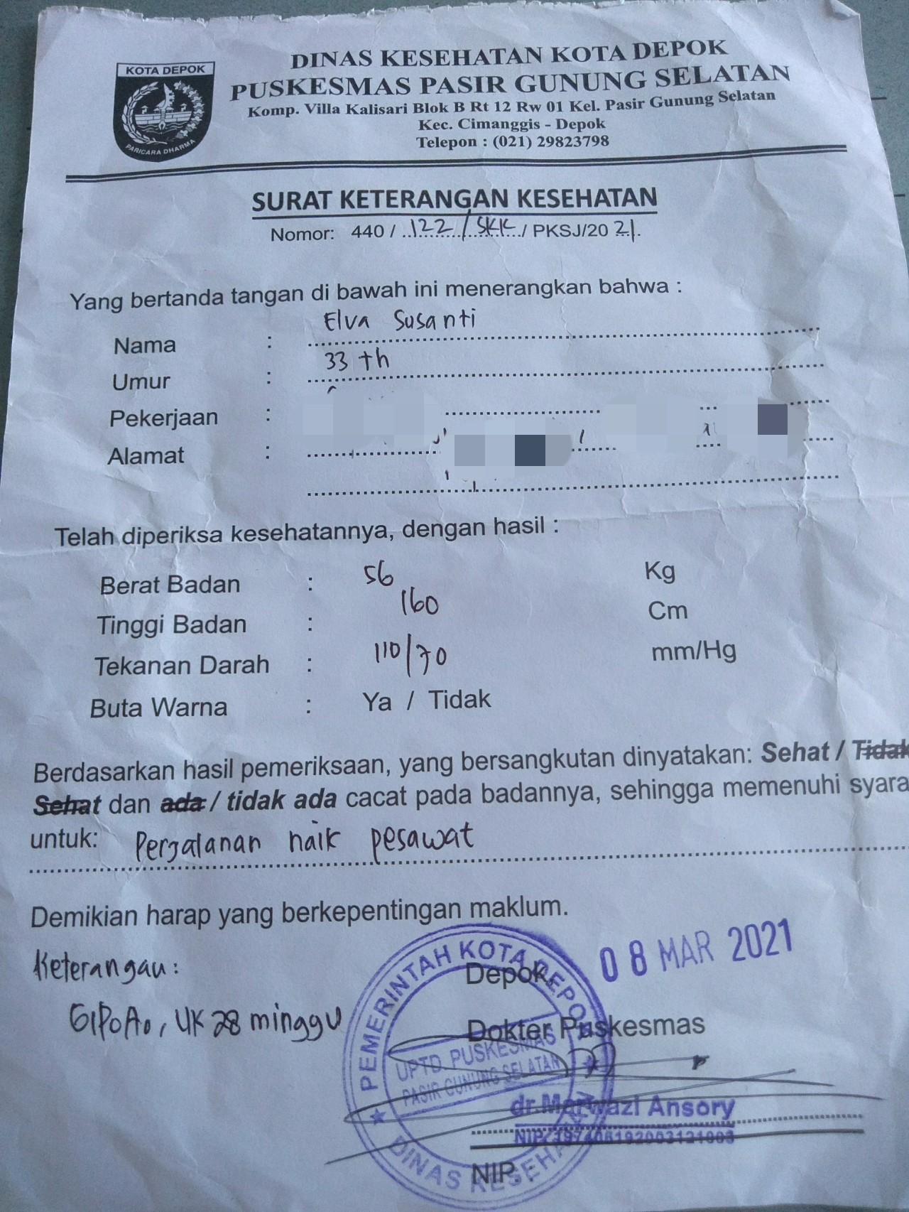 Surat keterangan hamil syarat naik pesawat