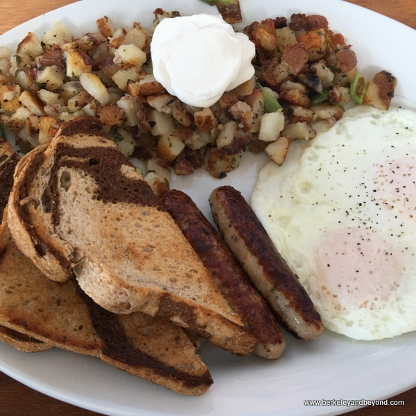 sausage and eggs at Homemade Cafe in Berkeley, California