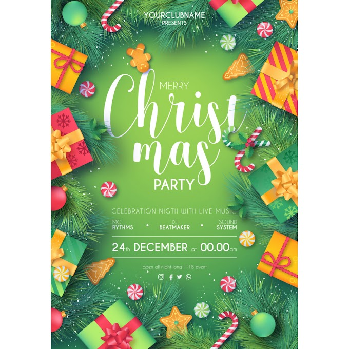 christmas party poster ready to print Green & red Merry Christmas Free Vector
