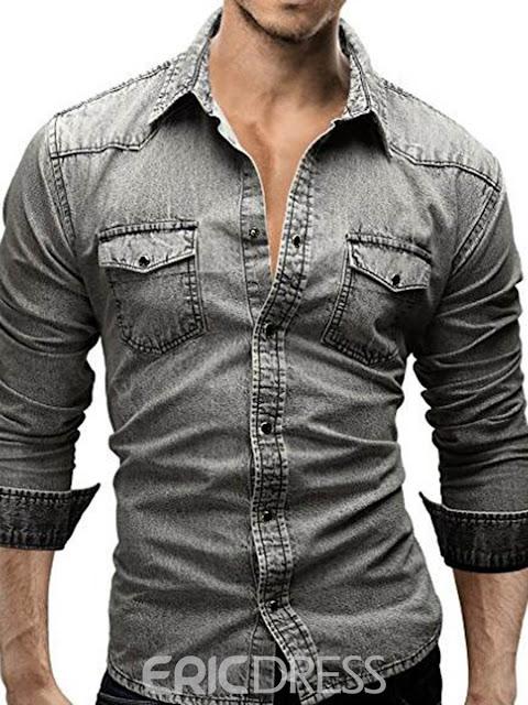 Long Sleeve Pocket Denim Slim Men's Shirt