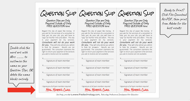 Screenshot of Question Slip with Directions