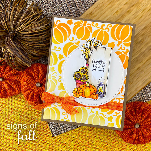 Pumpkin Patch Fall Card by Jennifer Jackson | Signs of Fall Stamp Set, Pumpkin Patch Stencil and Circle Frames Die Set by Newton's Nook Designs #newtonsnook