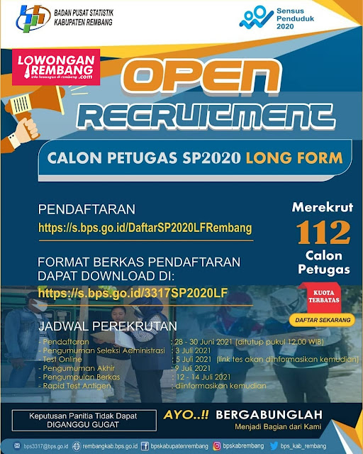 Lowongan Kerja Calon Petugags SP 2020 Long Form BPS Kabupaten Rembang