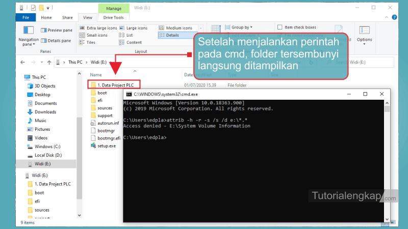 Tutorialengkap 4 cara menampilkan File dan Folder Tersembunyi pada Windows 7, windows 8, Windows 10 Melalui CMD