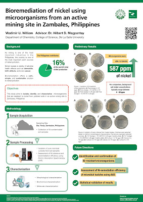 """Poster titled, """"Bioremidiation of nickel using microorganisms from an active mining site in Zambales, Philippines""""."""