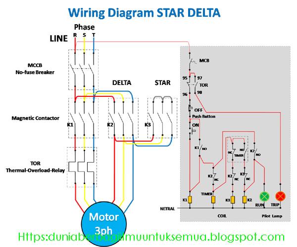 Wiring Diagram Rangkaian STARDELTA untuk Starting Motor