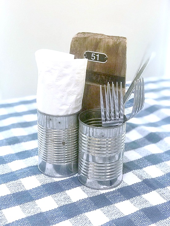 Rustic Recycled Summer Picnic Caddiy