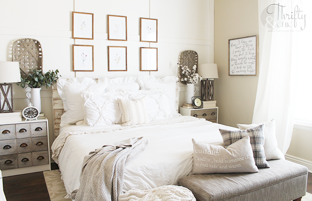 Farmhouse style master bedroom decor and decorating ideas. Cottage style bedroom inspiration.