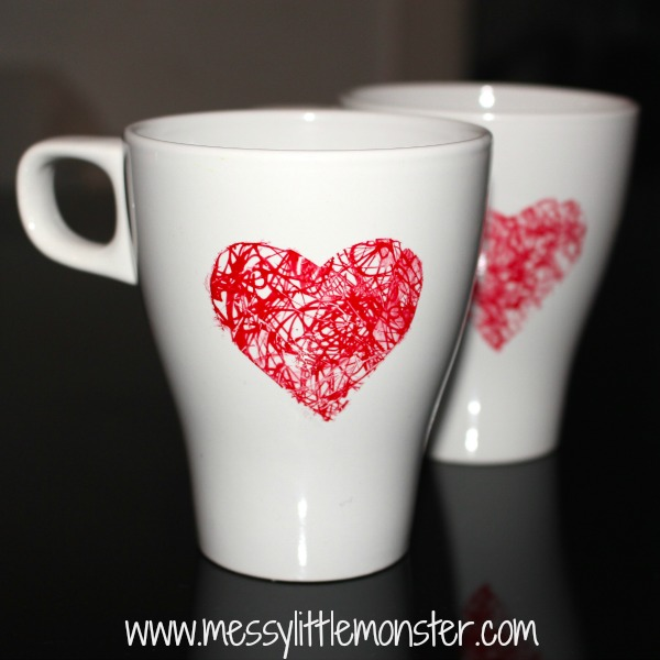 DIY heart scribble mug: Easy kid made gift