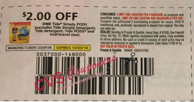 "$2.00/1 Tide Simply PODS Coupon from ""RMN"" insert week of 9/8."