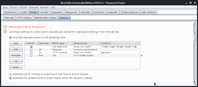 Proxy intercept Client request burp suite