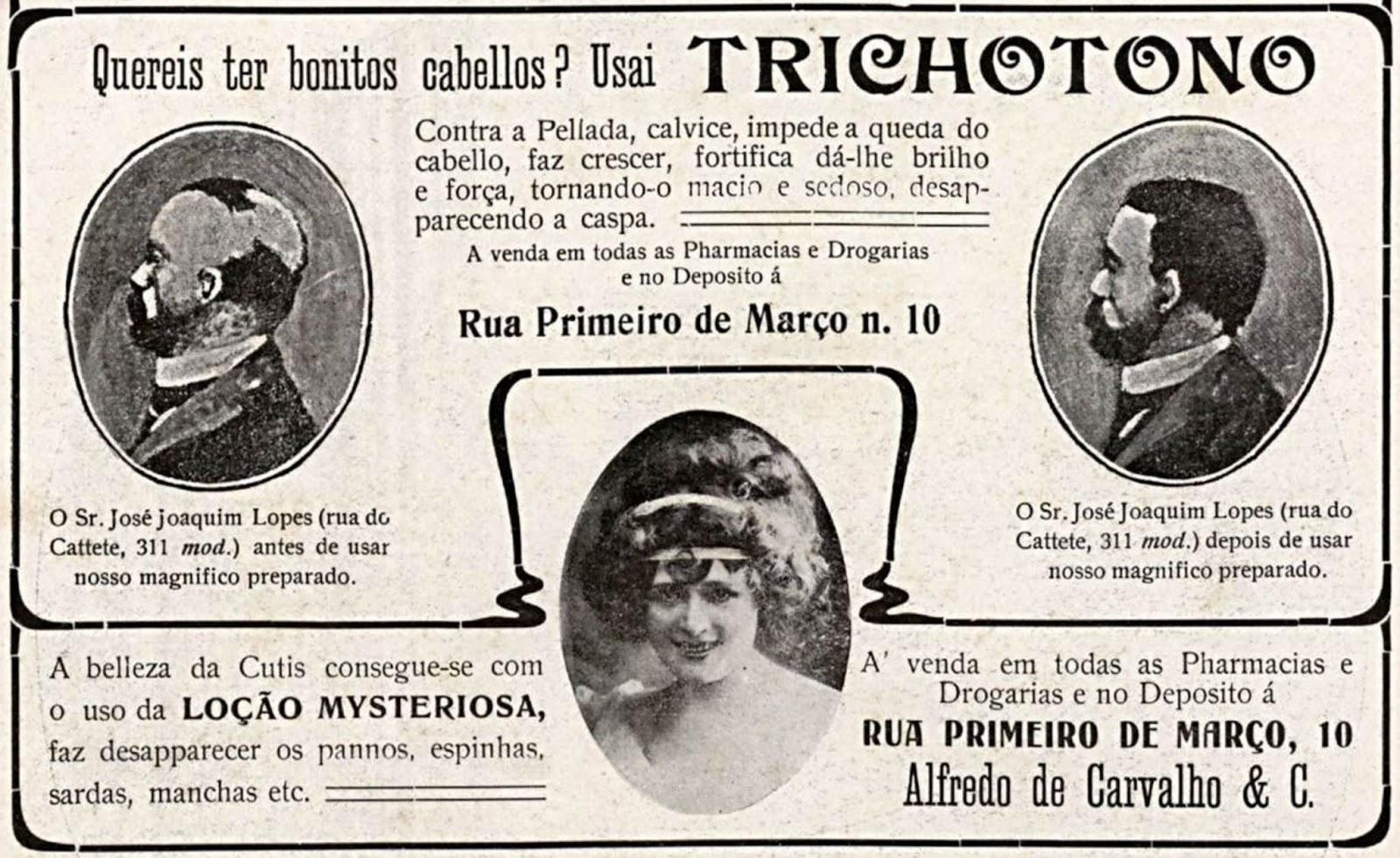 Propaganda antiga de 1909 da Loção Misteriosa e uma loção para reforço de cabelo