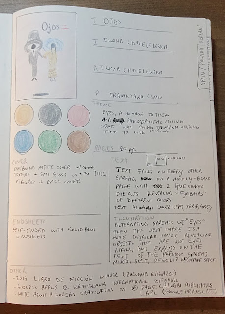 My notes on the picture book Ojos by Iwona Chmielewska, including a sketch of the cover, the very soft color palette used in the book and how text and die cuts are used throughout the book.