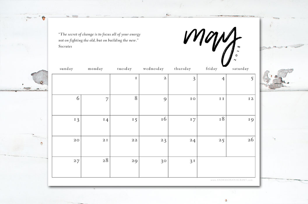 Download this beautiful free printable 2018 calendar to stay organized this year.  #freeprintable #printablecalendar #minimalistcalendar #andersonandgrant