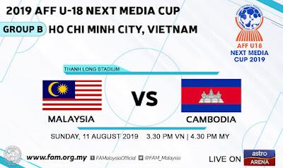 Live Streaming Malaysia vs Cambodia 11.8.2019 (AFF U18)