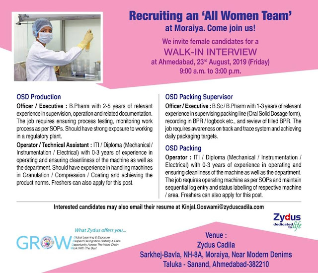 ZYDUS Walk in interview for OSD Production,OSD Packing ON 23 August At Ahmedabad location.
