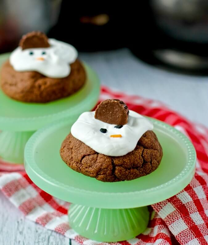 Chocolate and peanut butter Melting Snowman Cookies