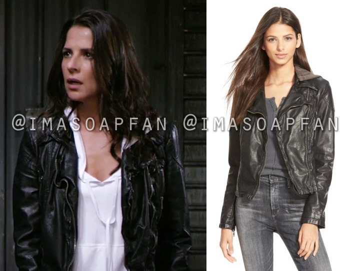 Sam Morgan, Kelly Monaco, Black Vegan Leather Jacket, General Hospital, GH