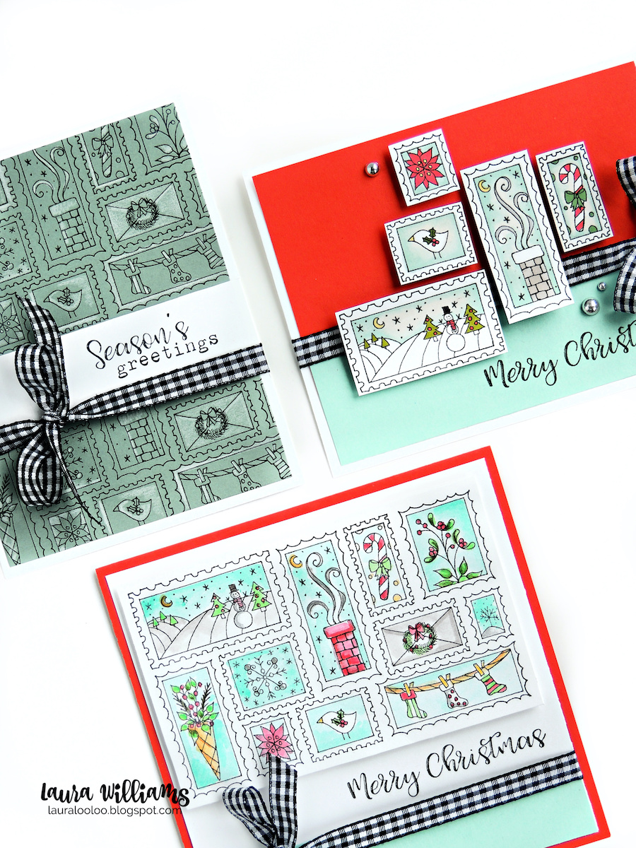 See three ways to use the Holiday Stamps rubber stamp from Impression Obsession. Merry Christmas handmade card with postage stamp themed background stamp called Holiday Stamps from Impression Obsession #lauralooloo #iostamps #christmascards
