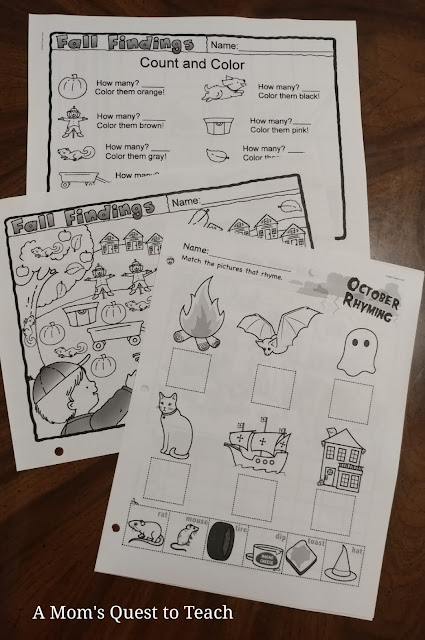 Kindergarten Halloween-themed worksheets from My Teaching Library