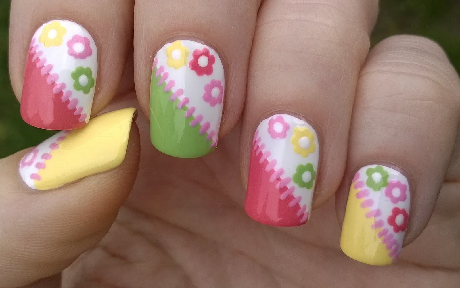Colorful Tape Toothpick Floral Nail Art