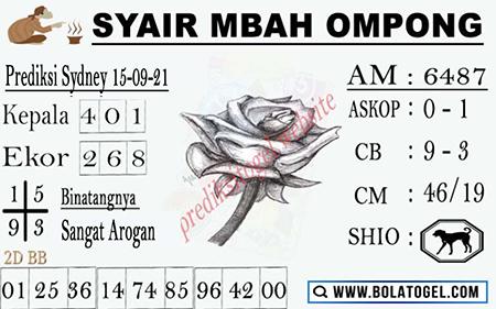 Syair Mbah Ompong SDY Rabu 15-09-2021