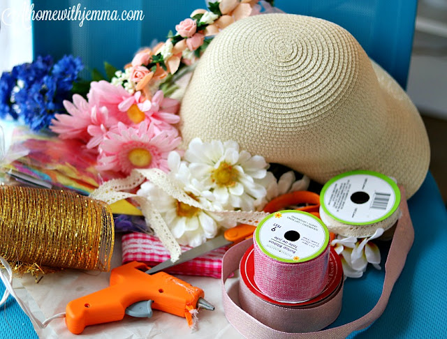 sun, hat, straw, make, diy, easy, pretty, simple, fun, craft, ribbon, lace, athomewithjemma