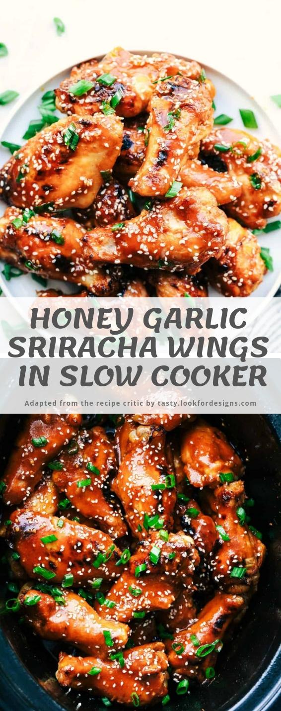 Slow Cooker Honey Garlic Sriracha Wings
