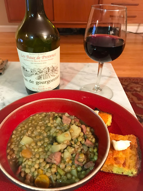 Good Luck Lentil Soup with Mas de Gourgonnier Les Baux de Provence wine.
