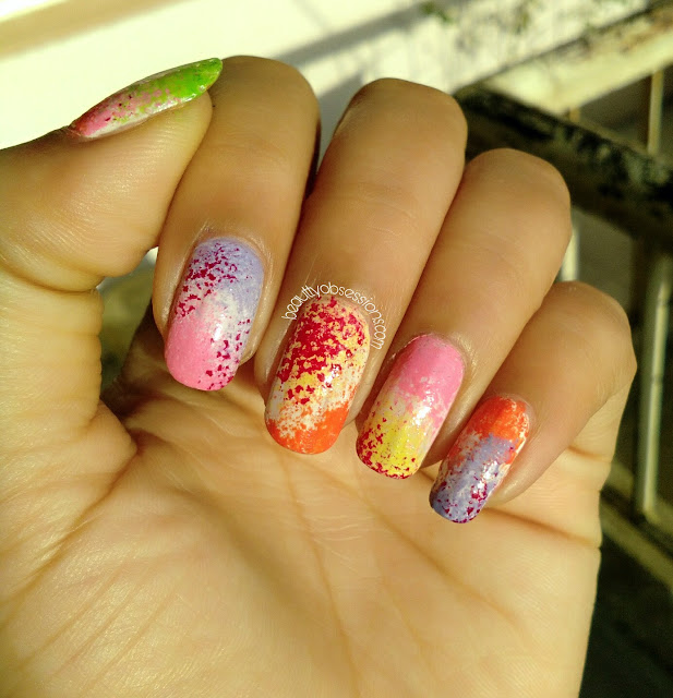 Colourful Nailart Using Sponge - Happy HOLI