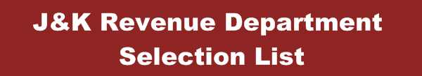 J&K Revenue Department Junior Scale Stenographer Selection List Out - Divisional Cadre Jammu