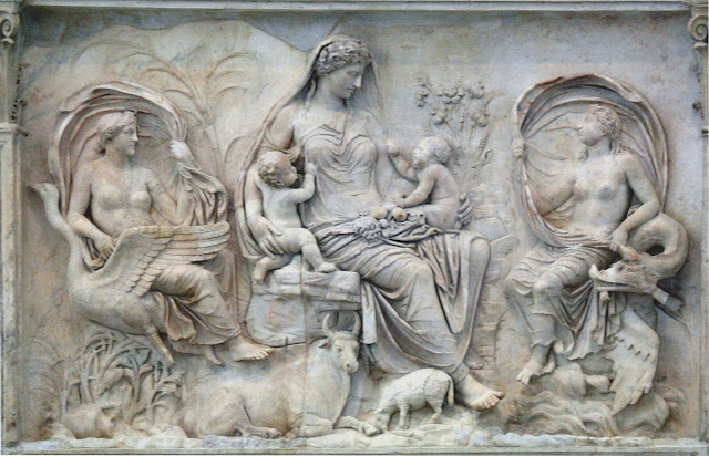 Relief from the Ara Pacis (9 BCE) depicting Tellus Mater (Mother Earth)