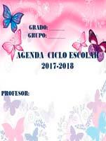 Agenda escolar en WORD de mariposas gratuita