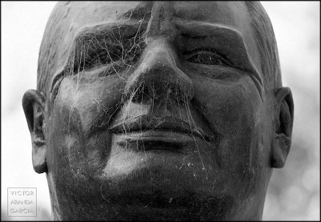 Fotografia del rostro de una escultura cubierto por una telaraña