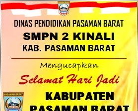 SMP N 2 Kinali Mengucapkan Dirgahayu HUT Pasbar Ke-17