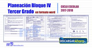 Planeación Bloque IV Tercer Grado primaria