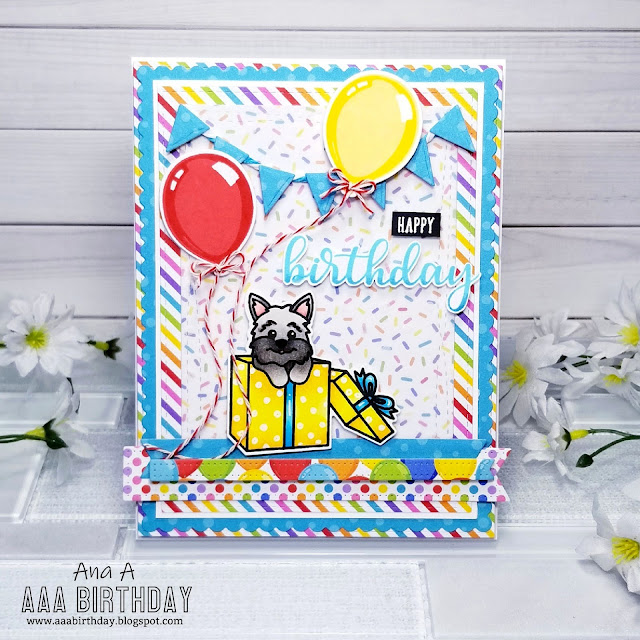 Sunny Studio Stamps: Birthday Balloons Santa's Helpers Customer Card by Ana Anderson